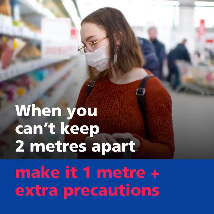 Its vital that you continue to keep a safe distance from others. In situations where you cant keep 2 metres apart, stay at least 1 metre apart while taking other extra precautions. More info ⬇️