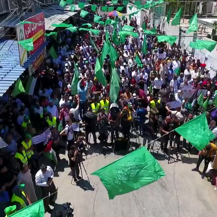 Drone footage captures #Gaza protest against #Israels #WestBank annexation plans