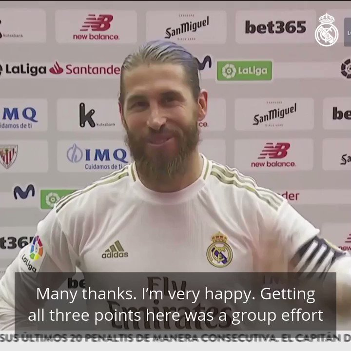 """©️⚽️💬 @SergioRamos: """"Getting all three points here was a group effort, and we knew they were crucial in our hopes of winning the league.""""   #RMLiga 
