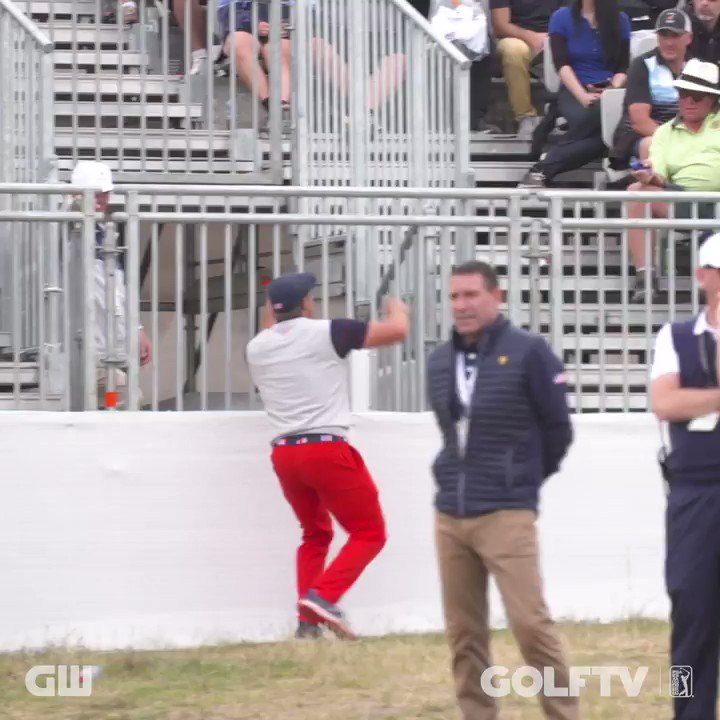 When we caught @B_DeChambeau climbing into the crowd at the Presidents Cup