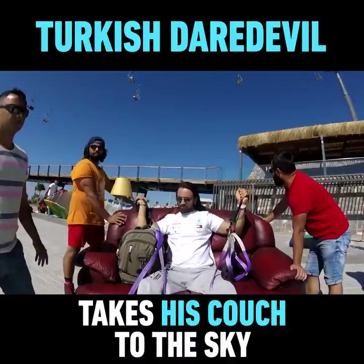 WATCH: Turkish paraglider Hasan Kaval strapped his couch and TV to a paragliding parachute and took to the skies in this insane stunt https://t.co/rthGpEXWqJ