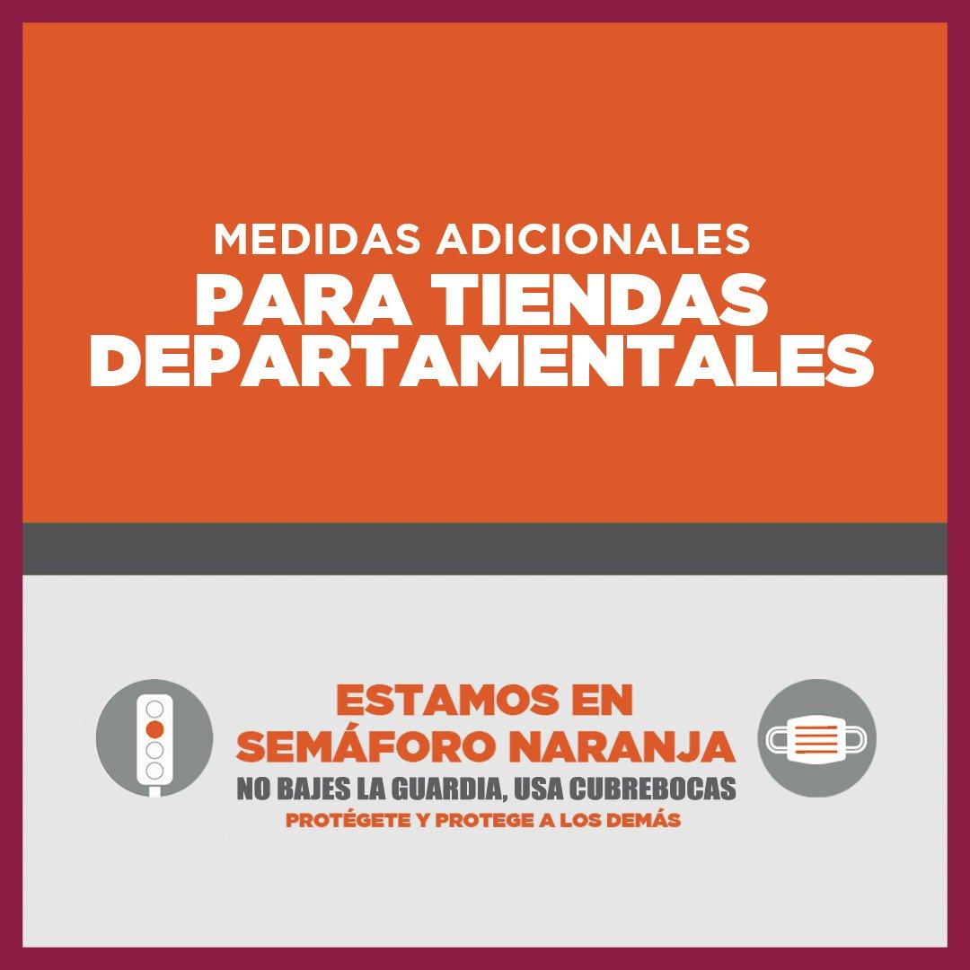 Otra actividad que regresa en #SemáforoNaranja 🚦🟠 son las tiendas departamentales. Te recomendamos asistir de forma individual y tomar en cuenta todas las medidas de prevención. Por ti y por los demás. 😷🧴🙌👤↔️👤 Juntas y #JuntosVamosASalirAdelante