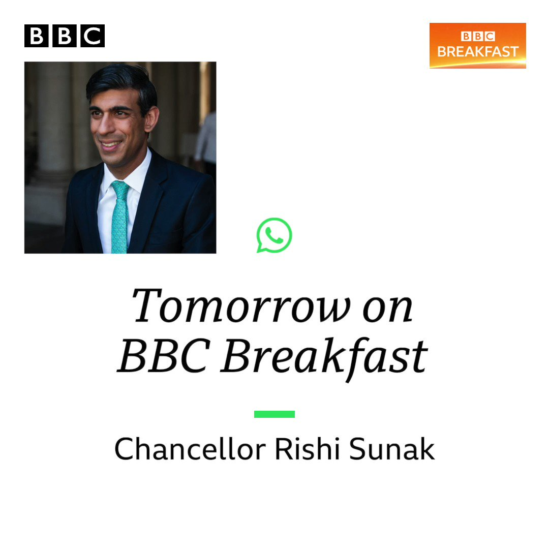 Tomorrow on #BBCBreakfast: Chancellor Rishi Sunak. Send in your questions for the Chancellor via VIDEO 🤳📲 Whatsapp: 07990 998866. #BBCYourQuestions