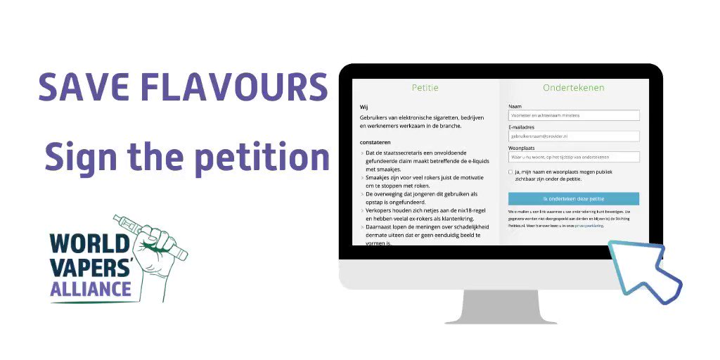 Dutch Vapers! Sign the petition. Save Flavours! Support @EsigbondNL and @acvoda   https://t.co/FQpej6qwqm https://t.co/M1EgTs92rC
