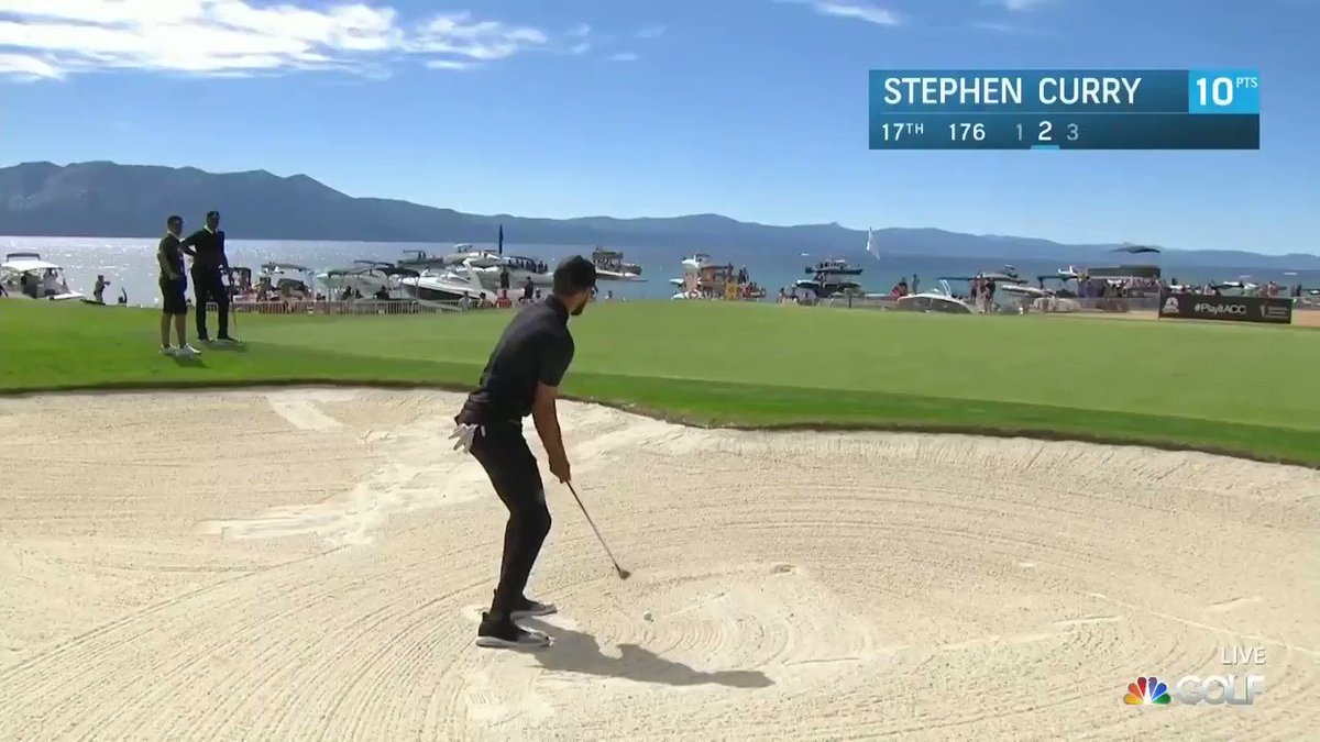.@StephenCurry30, showing off out of the sand on Friday at the @ACChampionship 🤑 #ACCGolf