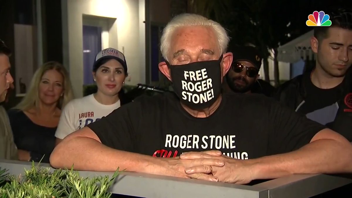 Roger Stone reacts to the commutation of his sentence by President Trump.