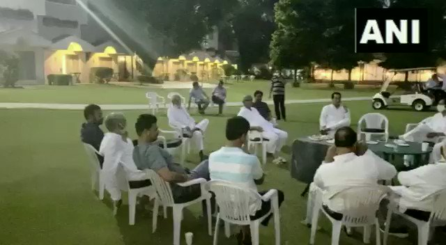 Haryana: Rajasthan Congress MLAs Inder Raj Gurjar, PR Meena, GR Khatana, and Harish Meena among others, at a hotel in Manesar. (Video released from Sachin Pilots office of MLAs supporting him)