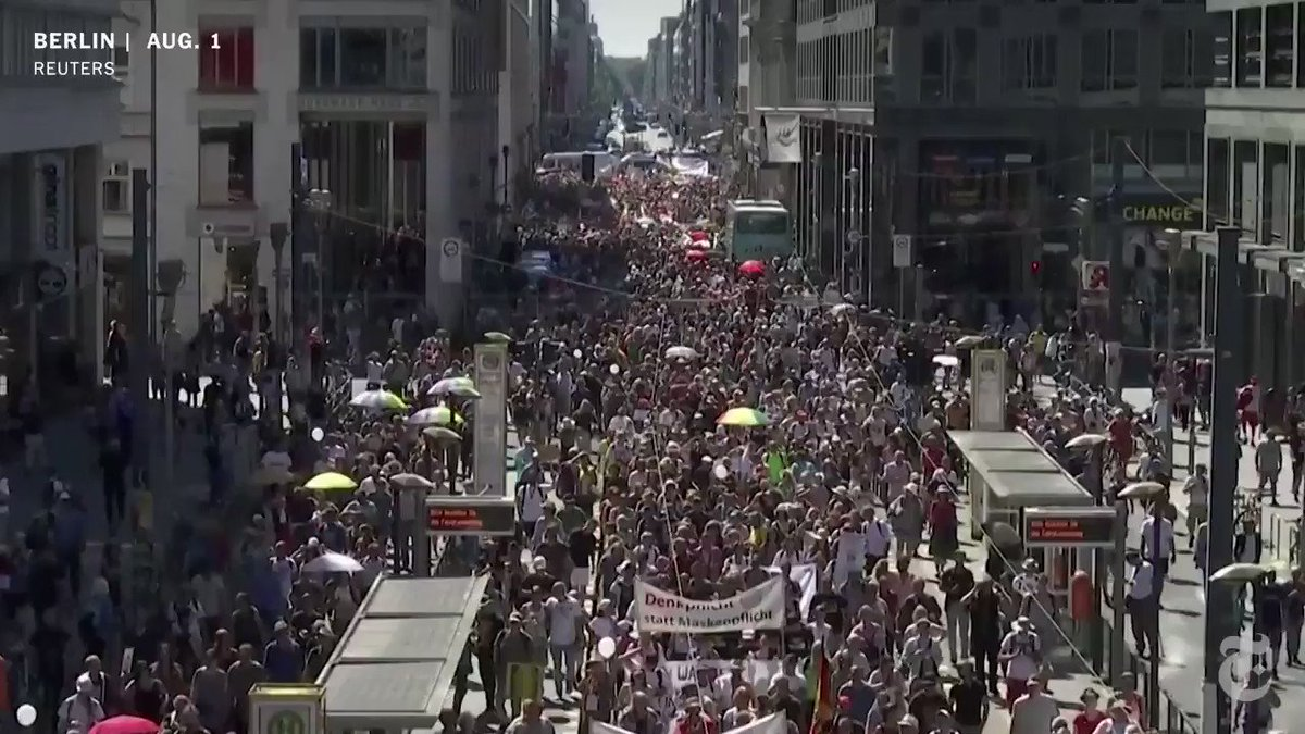 This was the scene in Berlin, where an estimated 17,000 people defied social-distancing and mask requirements to join a protest supported by neo-Nazi groups, conspiracy theorists and others who said they were fed up with the restrictions.  Read the latest. https://t.co/QFWyHTTMb0 https://t.co/h9CuxYCERg