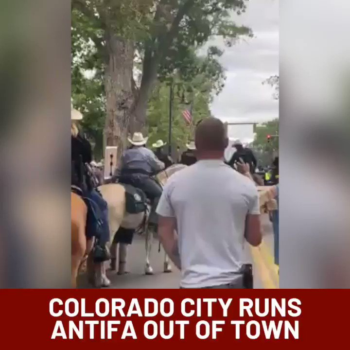 Colorado town runs ANTIFA and Black Lives Matter out of town Wild West Style. #Colorado #WildWest #AntifaTerrorists #blm #riots2020pic.twitter.com/tjLJxzLsb4