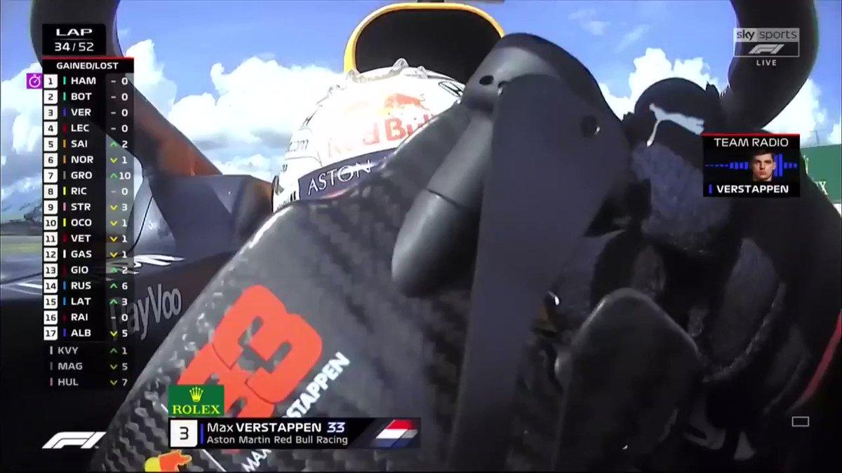 LAP 34  An update on Max Verstappen's race... 😂  📺 Live on Sky Sports F1 📱 Live on the App and Sky Go 💻 Live Blog: https://t.co/CkqLNAZAQx  #SkyF1   #F1   #BritishGP 🇬🇧 https://t.co/EC5v6pLSfS