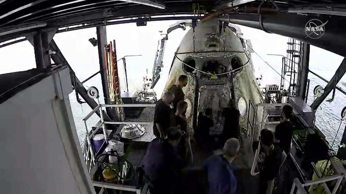 The hatch on the @SpaceX Crew Dragon spacecraft was opened at 3:59 p.m. ET. Watch live with us: nasa.gov/nasalive