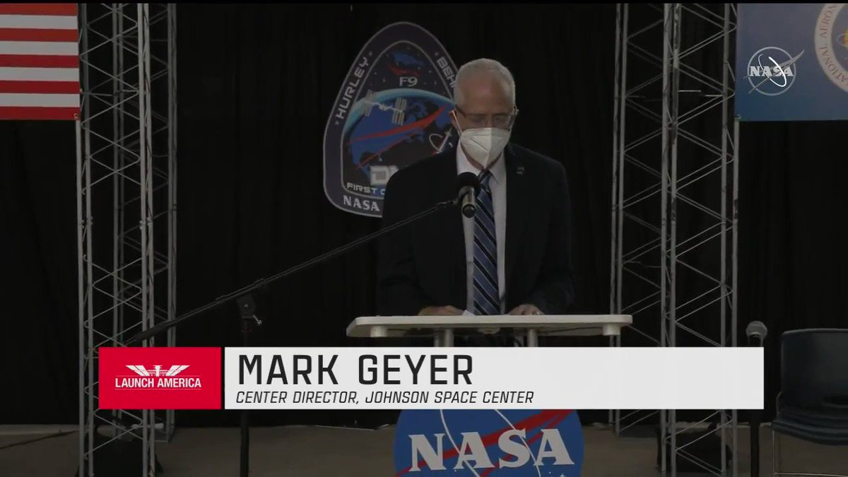 Many of us here today are committed to the goals and aspirations of human exploration, but you and the other astronauts actually take the risks that make human exploration possible. Director of @NASA_Johnson Mark Geyer congratulates the #LaunchAmerica crew: