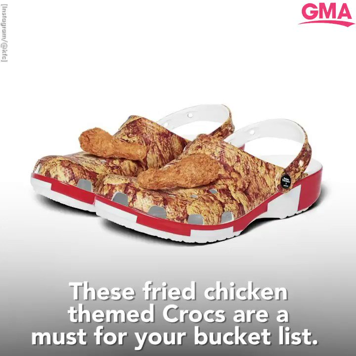 Crocs releases KFC clogs that smell like fried chicken -- and they're already sold out. 🍗 gma.abc/30okZmv