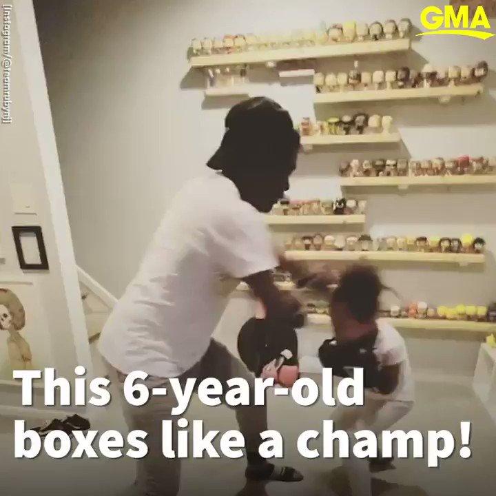 POW! 6-year-old Ruby Tucker can box like a champ! 🥊 gma.abc/2ZzRteQ