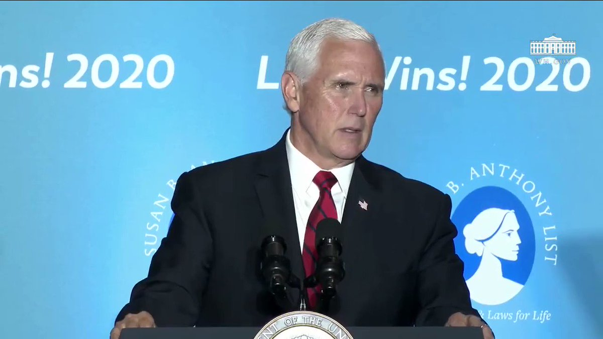 """Vice President @Mike_Pence: """"Because of what you've done, life is winning in America'"""