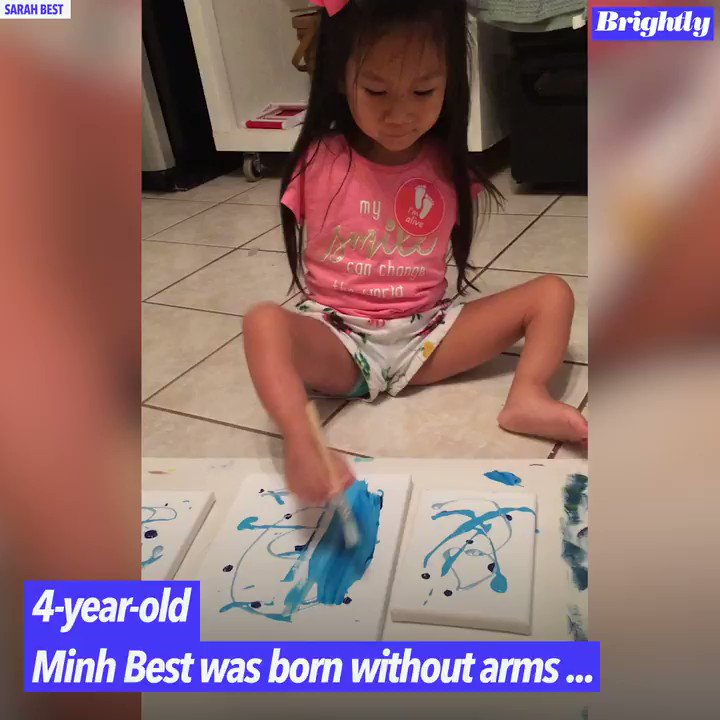Image for the Tweet beginning: 4-year-old Minh Best creates vibrant,