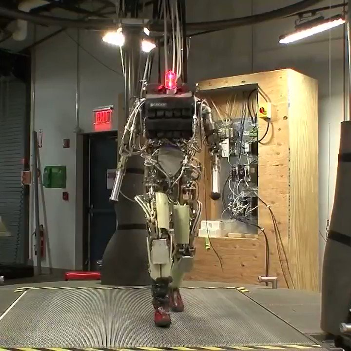 Early version of Boston Dynamics humanoid robot. Also me doing the running & bodyweight exercise challenge.