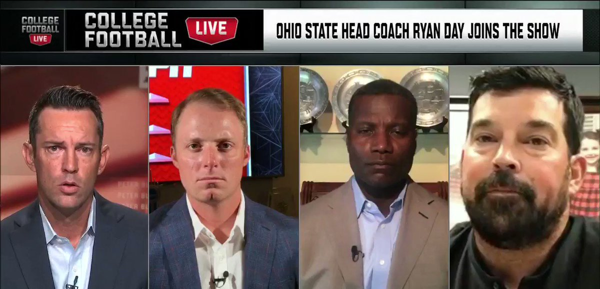 """""""We owe it to these kids to exhaust every single option we possibly can. ... Doing that right now would be abrupt.""""  @OhioStateFB's @ryandaytime says the Big Ten can not cancel the season right now. https://t.co/IATRm369cn"""
