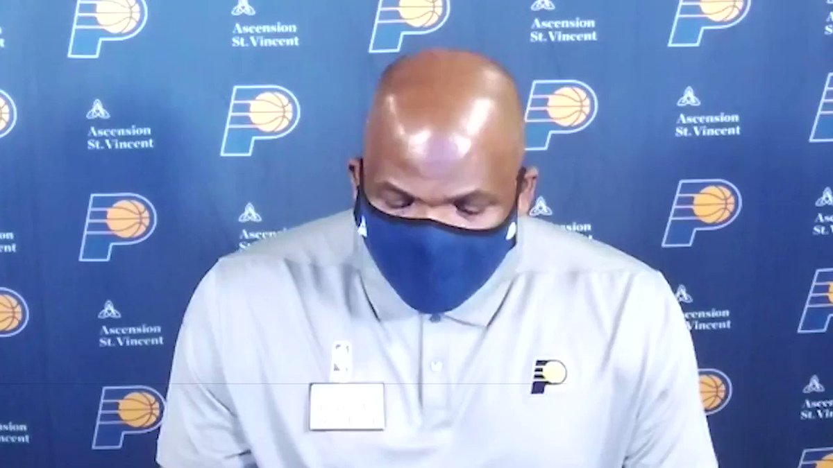 """""""I thought we did a good job of recovering to the paint, not getting too flat, and rebounding the basketball, which led to us getting out in transition,"""" said Coach McMillan.   Hear from the team after tonight's #PacersWin 🎥 https://t.co/Ou7oYCE200"""