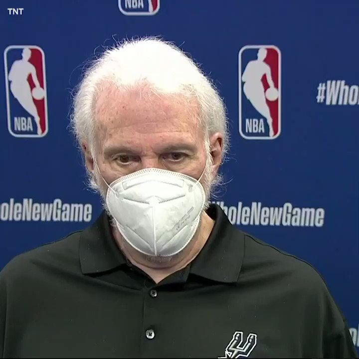 """Coach Pop had everyone thinking he was mad after being asked about the Spurs' 22-season playoff streak ending 😅  """"I'm just screwing with you."""" https://t.co/h8MLYxYr8k"""