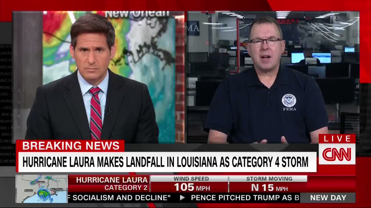 """FEMA Administrator Peter Gaynor says the agency is """"in good shape"""" with funding and supplies as it assesses damage from #HurricaneLaura."""