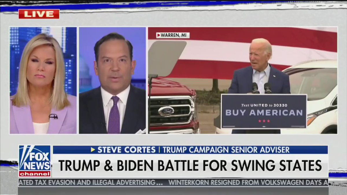 """""""The gall of Joe Biden to go to the industrial heartland, to the state of Michigan and promise that he's going to return jobs back from China -- that is like an arsonist who burned down a village returning to that town and [saying] he wants to be the fire marshal"""" - @CortesSteve https://t.co/X9LzXXCAgy"""