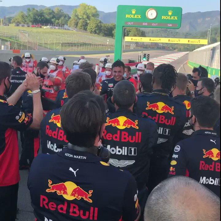 Grinning from ear to ear @alex_albon 😁 #TuscanGP 🇮🇹 #F1