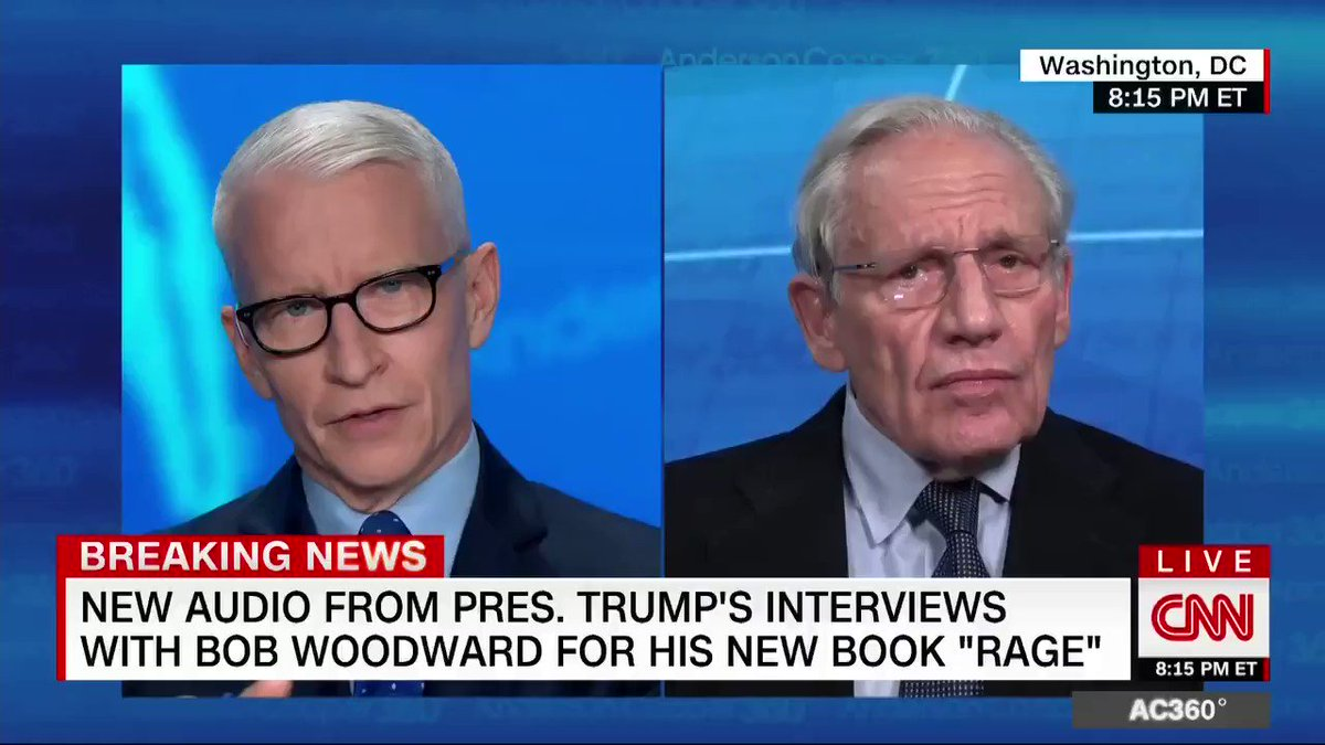 """""""It's terrifying to hear you say it,"""" says @andersoncooper, reacting to journalist Bob Woodward's claim that President Trump does not know the difference between what is real and what is unreal in his own head https://t.co/x6kYPC2Mjf"""
