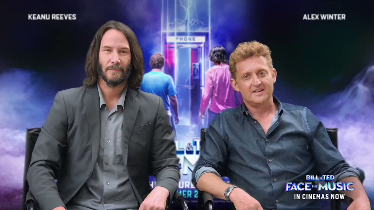 Bill And Ted Face The Music is in UK CINEMAS TODAY and Keanu Reeves & Alex @Winter have a special message for you.  Make this most joyous comedy your next trip to the cinema. https://t.co/0mqrUqqA4k