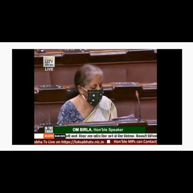 Smt. @nsitharaman moves that the Bill further to amend the Banking Regulation Act, 1949, be taken into consideration. Also to move that the Bill be passed. ( Video part 1)