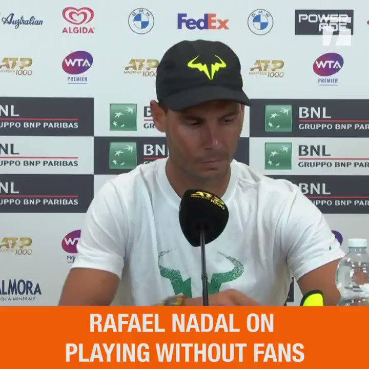 """""""Of course I have to improve things.""""  Today, @RafaelNadal played his first match in over six months.  Hear what he had to say about his return. #IBI20 https://t.co/sRwqtqIXZS"""