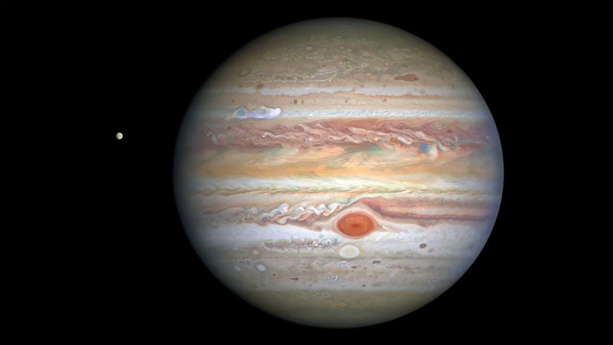 """Hubbles new images of Jupiter capture the giant planet's stormy atmosphere. The Great Red Spot, a storm big enough to swallow Earth, is still shrinking. Beneath it, """"Red Spot Jr."""" continues to rage and change color, while a new storm brews in the north: go.nasa.gov/2EbbkaP"""