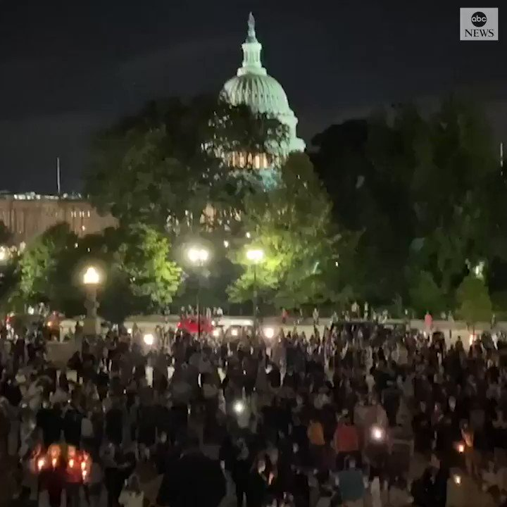 "Mourners join in a rendition of ""Imagine"" by John Lennon as they honor the legacy of Supreme Court Justice Ruth Bader Ginsburg, the standard bearer for the court's liberal wing and a progressive icon.  https://t.co/QcBKdeDxe2 https://t.co/62Sh502TdS"