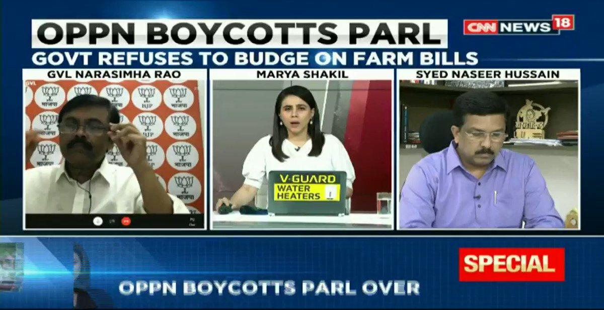 #KisanPolitics - The government listens to the opposition but we will not let anyone blackmail the govt: @GVLNRAO (MP & Spokesperson, BJP) tells @maryashakil on #NewsEpicentre https://t.co/iYXE6ChZ5l
