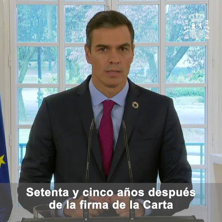 Twitter Pedro Sánchez. 75 años después de la firma de la Carta...: abre ventana nueva