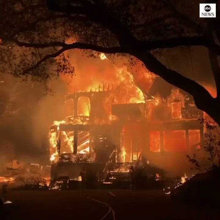 Several buildings ablaze in Napa County, California, as crews battle wildfires in the area. https://t.co/kb8icr6uUG https://t.co/6vzXZP6JDV
