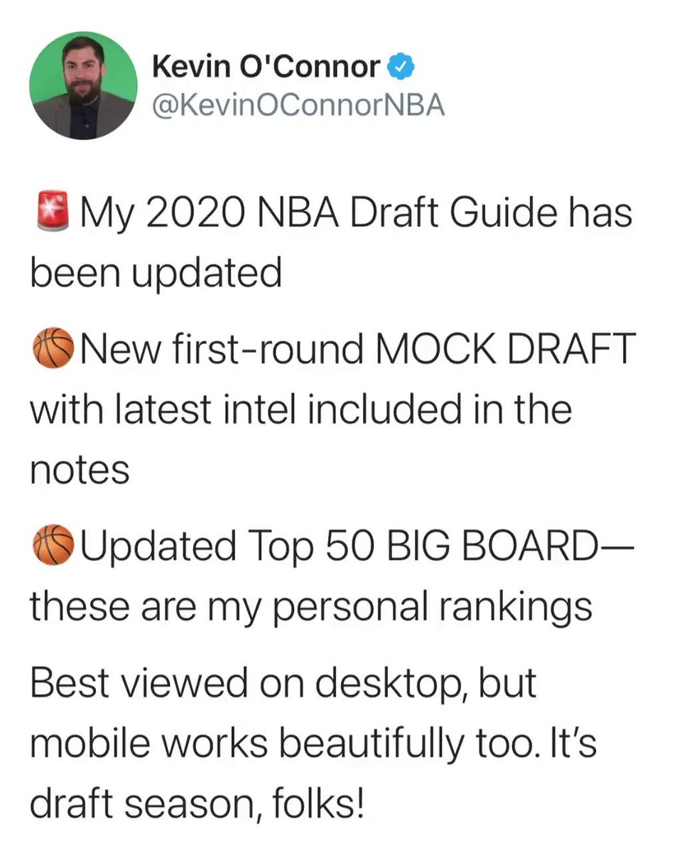 Get pumped and jacked for the #NBAdraft!!! @KevinOConnorNBA updated his first-round mock draft AND his top-50 big board. Feel free to skim, peruse, or deep dive. ➡️ nbadraft.theringer.com