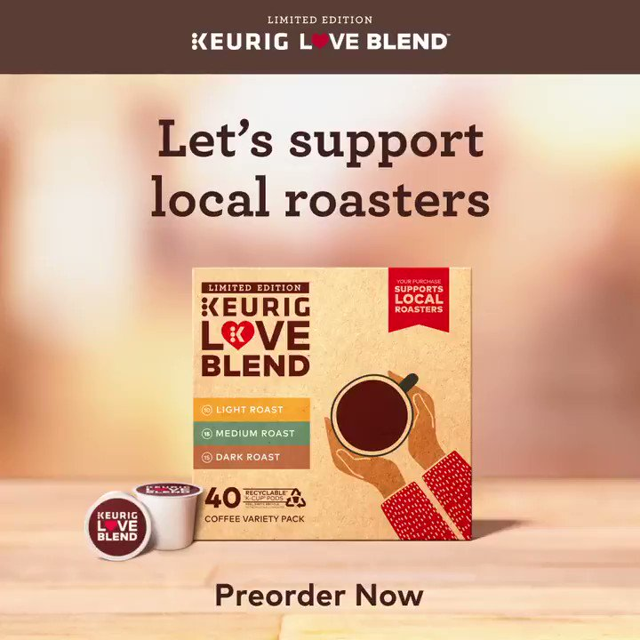 Partnering with local roasters across America, we've co-created the limited edition Keurig Love Blend — a collection of three craft roasted blends. Your purchase goes back to support the roasters who created them.