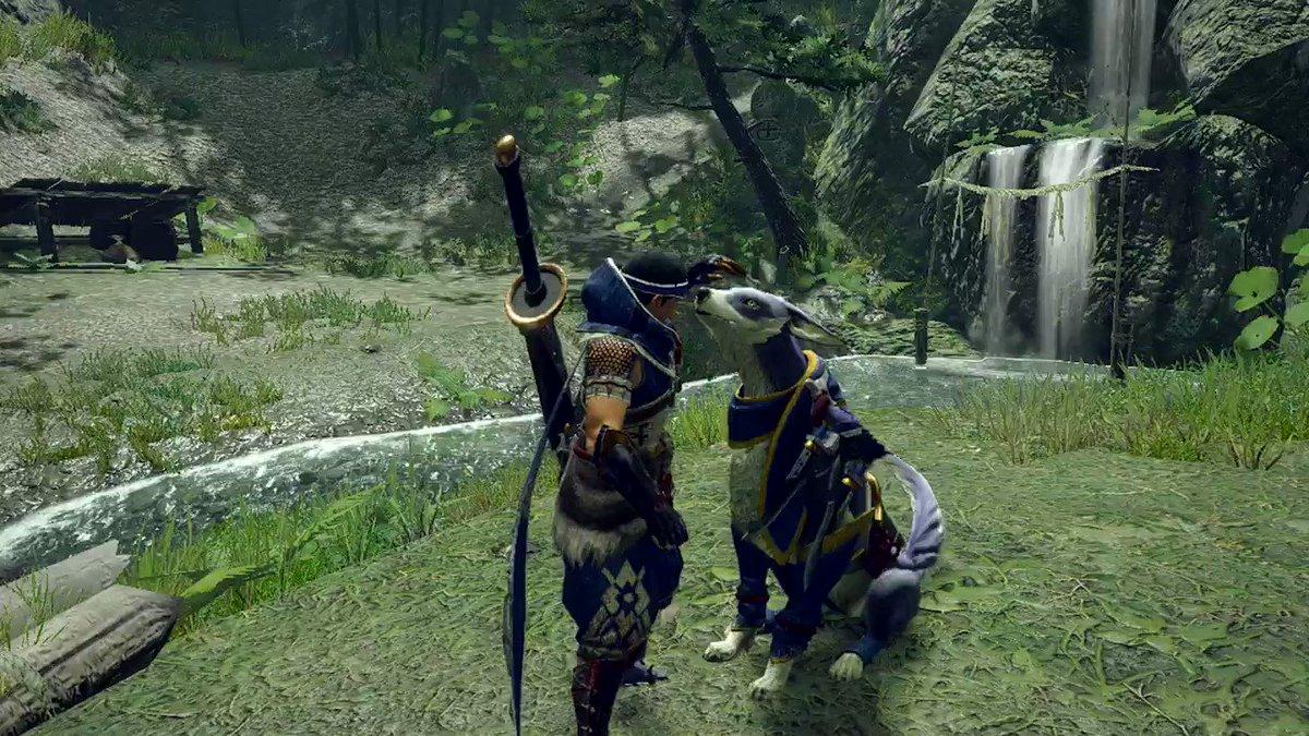 【映像見聞録 01】カムラの里にて特殊な訓練を受け、ハンターの良きパートナーとなった「ガルク」が「オトモガルク」です。背中にハンターを乗せたり、ハンターとの連携攻撃が得意で、狩猟を手助けする頼もしい存在です。狩りのサポートだけでなく触れ合うこともできます。
