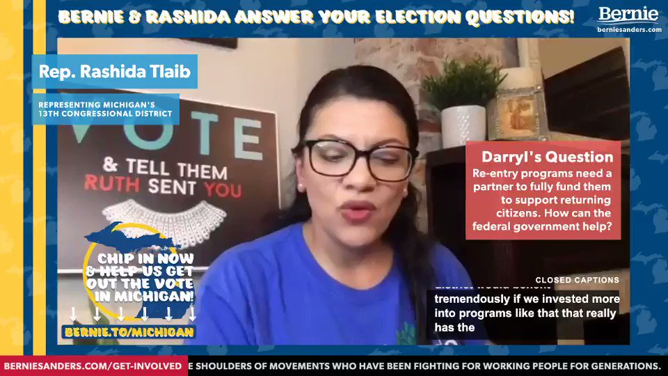 """We have to end then for-profit schemes that are embedded into mass incarceration… The corrections budget is the #1 line budget in the state of Michigan and I can't get clean water into 60 of the schools in this neighborhood I live in."" –@RashidaTlaib"