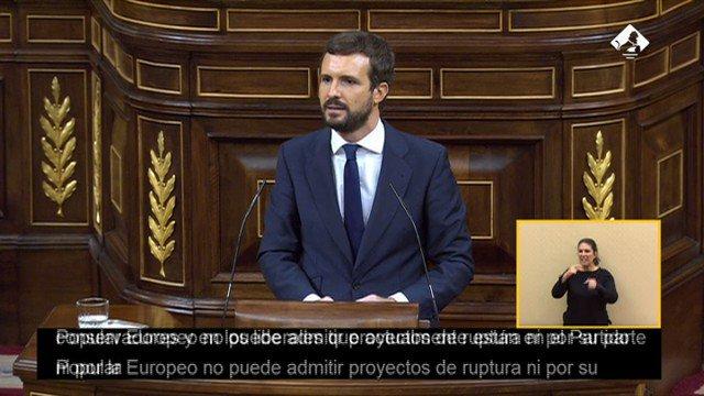 Hoy @pablocasado_ ha demostrado el liderazgo que España necesita para frenar el populismo, derrotar al #coronavirus y relanzar la economía. España necesita un lider de centro sin alianzas con fuerzas radicales que solo buscan la división. #SíaEspañaNOaVOX