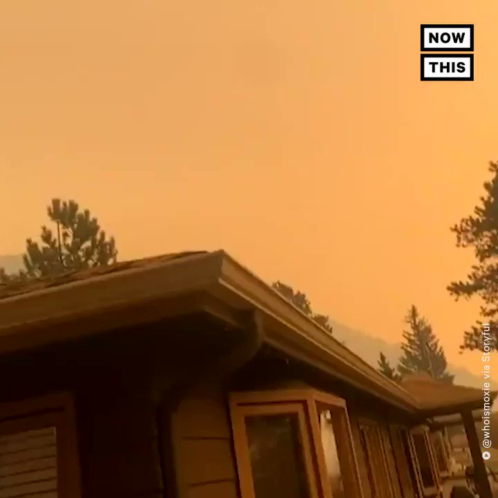 The sky in Colorado turned this unsettling shade of orange as flames from the East Troublesome wildfire continued to threaten Estes Park and prompted the closure of Rocky Mountain National Park. More than 125k acres have been burned as of Thursday afternoon.