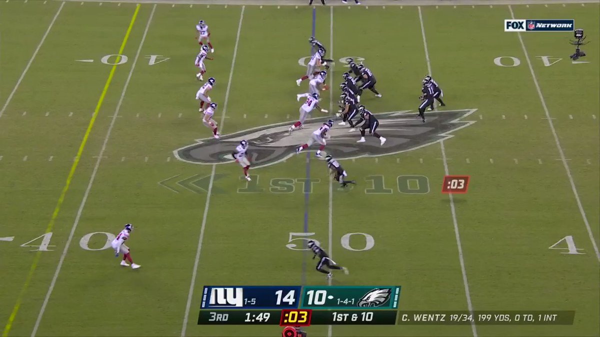 Image for the Tweet beginning: Wentz throws a strike to
