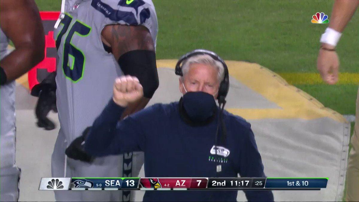 😂 @PeteCarroll 📺: #SEAvsAZ on NBC 📱: NFL app // Yahoo Sports app: bit.ly/3js2ELC