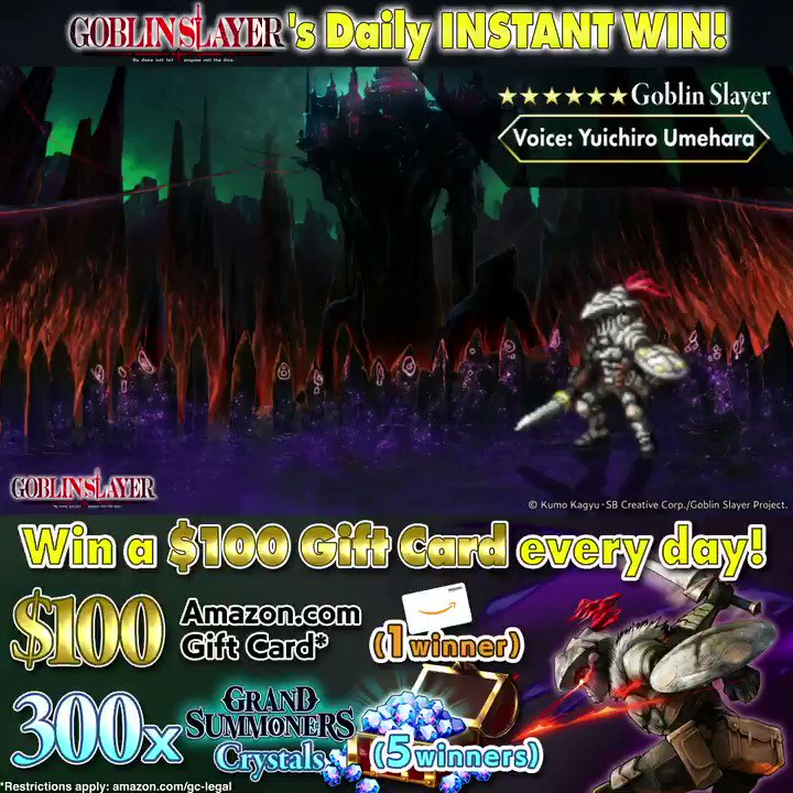 GOBLIN SLAYER crossover is LIVE!⚔  Enter Grand Summoners #goblinslayer #instantwin #sweepstakes to win a $100 Amazon gift card every 24 hrs!🎉  1.Follow @GRDSMN_GLOBAL 2.RT this tweet 3.Check your inbox for results  Win GOBLIN SLAYER units every day in Grand Summoners!🔥Play NOW