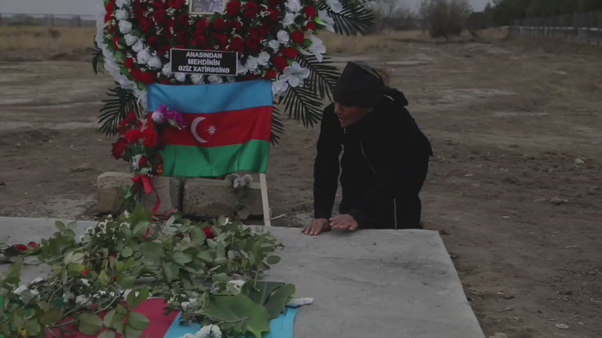 """""""They loved each other and we did not know.""""  There is human suffering on both sides after the war for #NagornoKarabakh. Our latest report from #Azerbaijan for @BBCWorld #BBCNewsTen about the cost of victory.  Thanks to the team @Goktay @Clear_red and @StuHollandesq."""
