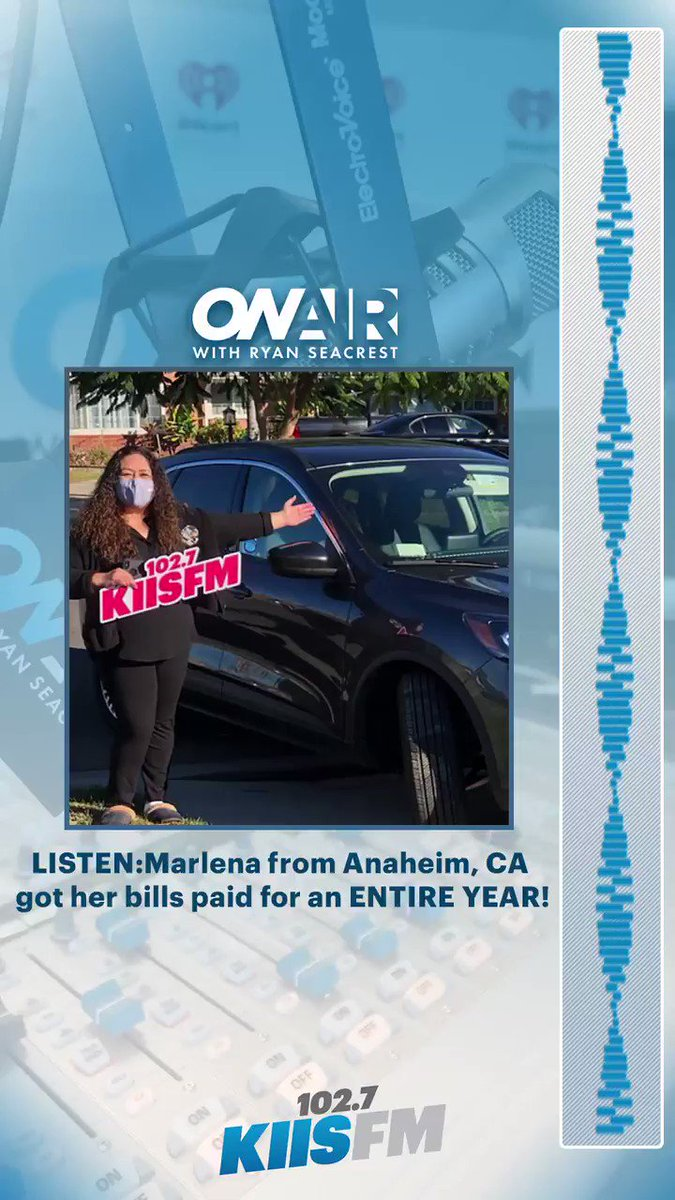 Congratulations to Marlena from Anaheim, CA for getting her bills paid for an ENTIRE YEAR!   Listen to the moment she won!  @OnAirWithRyan @RyanSeacrest