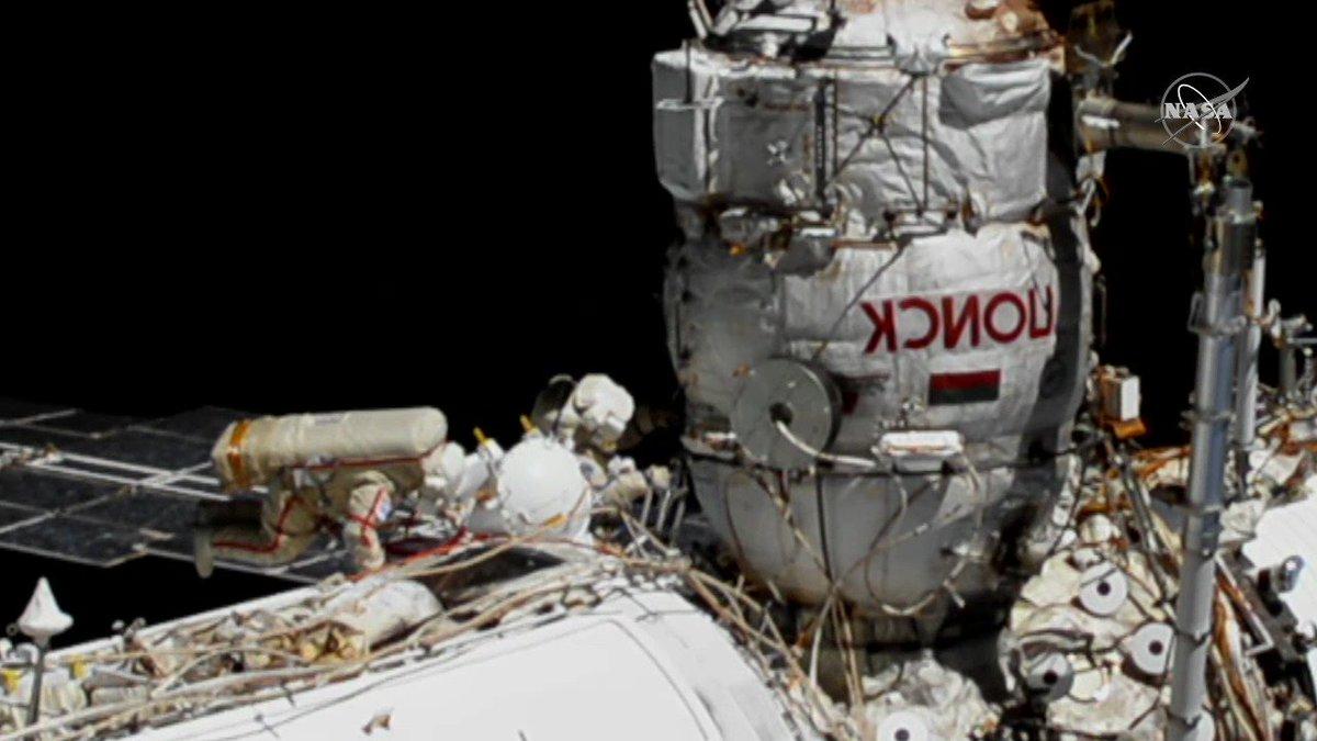 The two spacewalking cosmonauts are working to replace a fluid flow regulator outside the Zarya module, the station's first module. https://t.co/yuOTrZ4Jut https://t.co/hskTqBnadA