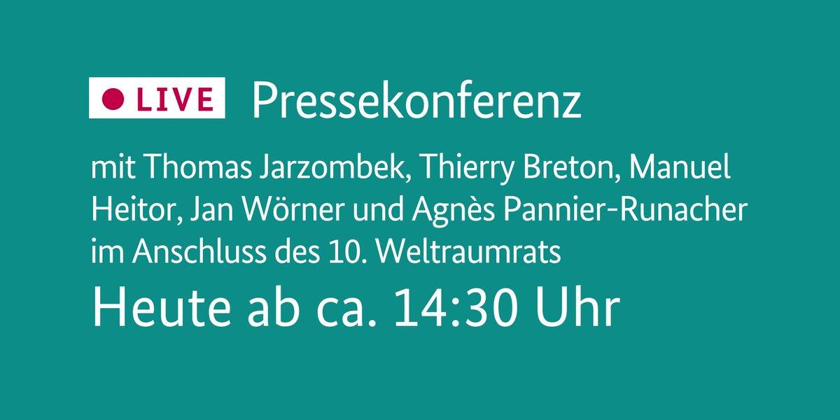 Heute ab ca. 14:30 Uhr: Pressekonferenz mit @tj_tweets, @ThierryBreton, Manuel #Heitor und @janwoerner @ESA sowie @AgnesRunacher im Anschluss des 10. #Weltraumrat|s. @EU2020DE #EU2020DE europa.eu/!GX68YT👉