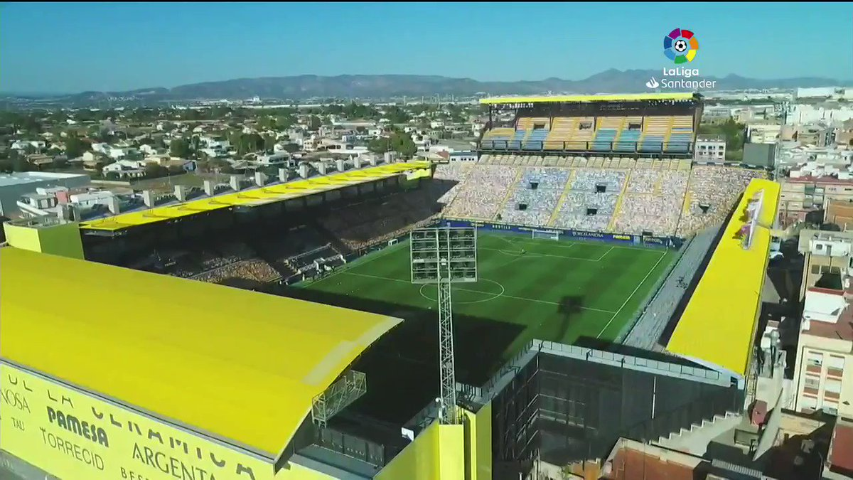 ".@LaLiga is back, the drones are back. Spectacular images of the ""Estadio de la Cerámica"" from the air captured using drones by our #OveronAerial team at #VillarrealRealMadrid. 📸🕹️⚽️"